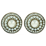 Large Round Antique Gold, Pearl & Crystal Clip On Earrings