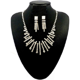 Diamante Crystal Icicles Shower Necklace & Clip On Drop Earrings Set