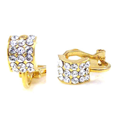 Gold Plated And Swarovski Crystal Semi Hoop Clip On Earrings