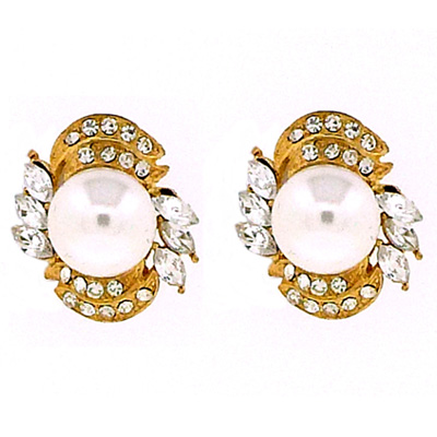 Large Vintage Pearl Crystal & Gold Clip On Earrings Bridal