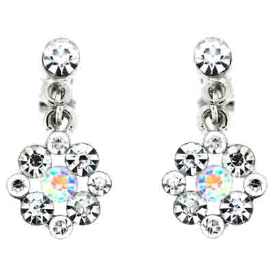Crystal Flower Drop Clip On Earrings