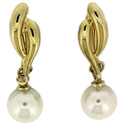 Gold Plated Knot & Pearl Drop Clip On Earrings