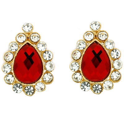 Victorian Red Crystal Teardrop Clip On Earrings