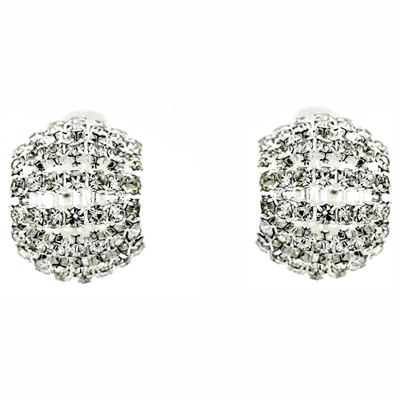 Large Diamante Crystal Semi Hoop Clip On Earrings