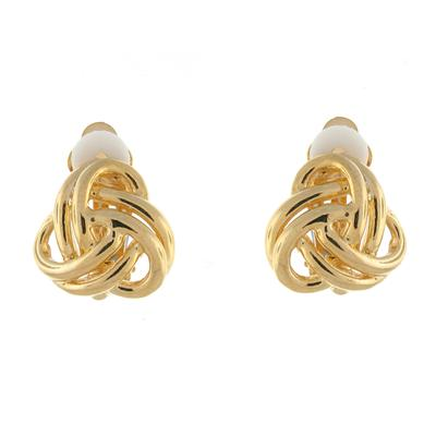 Entwined Gold Plated Knot Clip On Earrings