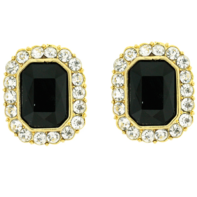 Black Diamante And Clear Crystal Rectangular Gold Clip On