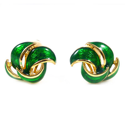 Green Enamel And Gold Plated Petal Clip On Earrings
