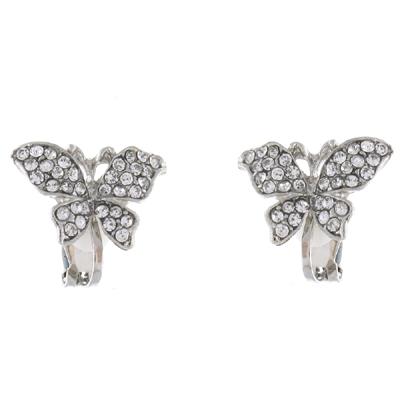 silver clear butterfly clip on earrings