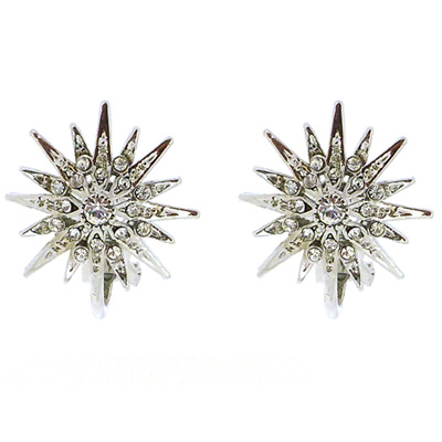 81f109cee Silver & Swarovski Crystal Starburst Snowflake Clip On Earrings