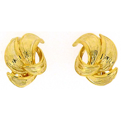 Gold Plated Petal Clip On Earrings