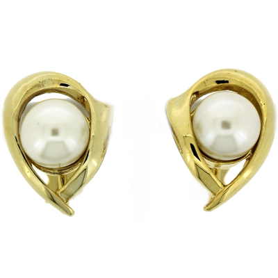 Gold Plated Tear Drop with Pearl Clip On Earrings