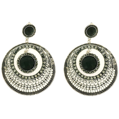 Oversized Silver, Jet Crystal and Stone Filigree Round Hoop Clip On Earrings