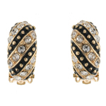 Gold & Crystal Round Drop Hoop Clip On Earrings