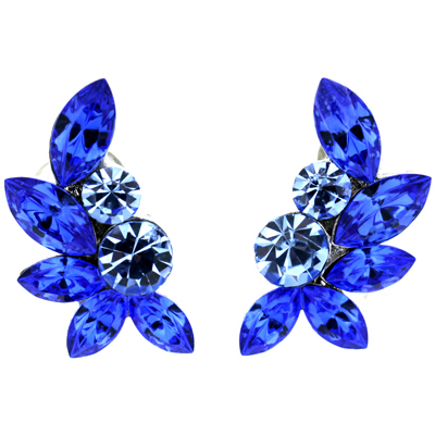 Sapphire Blue Swarovski Crystal Leaf Clip On Earrings