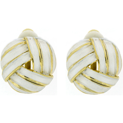 White Enamel & Gold Plated Round Knot Clip On Earrings