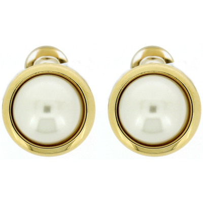 Classic Gold Plated & Round Pearl Button Clip On Earrings