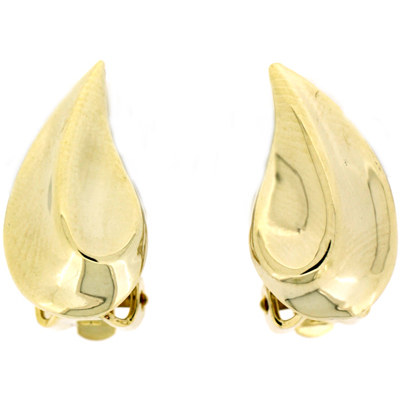 Gold Plated Swirl Leaf Clip On Earrings