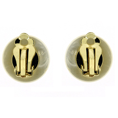 Classic Single Half Button Round Ivory Pearl Clip On Earrings