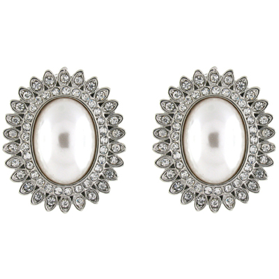 Silver & Pearl & Crystal Oval Starburst Flower Clip on Earrings