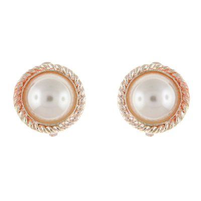 Gold And Ivory Pearl Round Rope Clip On Earrings