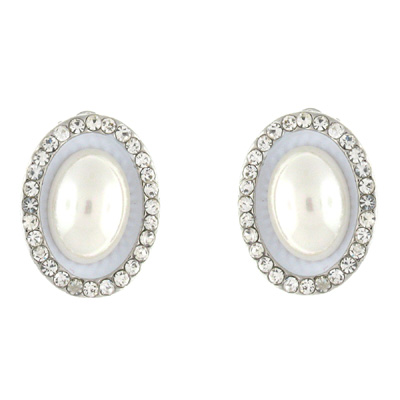 Silver Amp Ivory Pearl And Crystal Oval Clip On Earrings