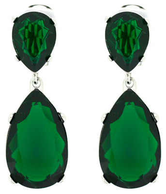 Kenneth Jay Lane Emerald Green Crystal Teardrop Clip On Earrings