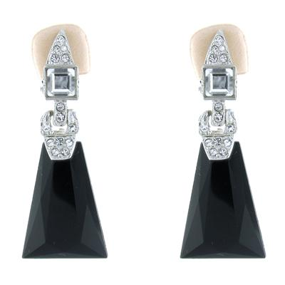 Kenneth Jay Lane Jet & Crystal Deco Clip On Earrings