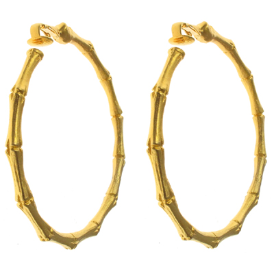 Kenneth Jay Lane Matt Gold Bamboo Hoop Clip On Earrings Medium