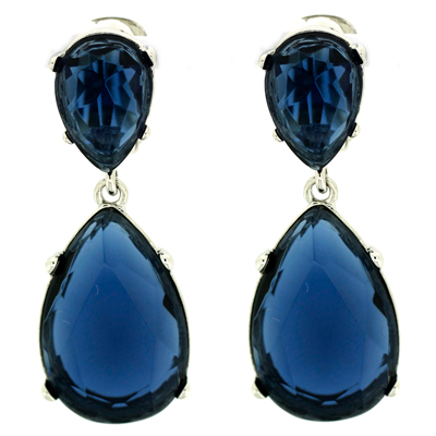 Kenneth Jay Lane Sapphire Crystal Teardrop Clip On Earrings