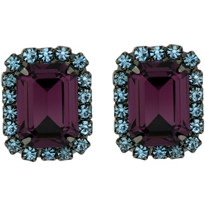 Kenneth Jay Lane Amethyst Purple & Blue Swarovski Crystal Clip On Earrings
