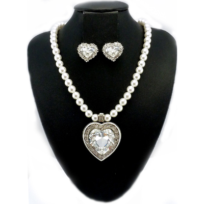 Swarovski Crystal & Pearl Love Heart Pendant & Clip On Earrings Set